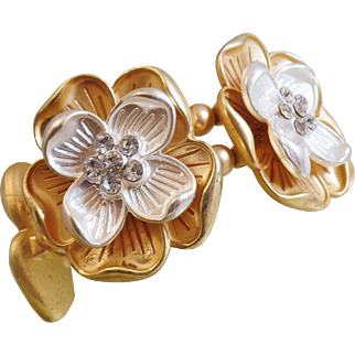 Vintage Gold and Silver Rhinestone Flower Bracelet. Brushed Gold and Silver Tone Rhinestone Blossom Bracelet.
