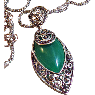 Vintage Marcasite and Green Chrysoprase Necklace. Antiqued Silver Chain Marcasite Necklace.