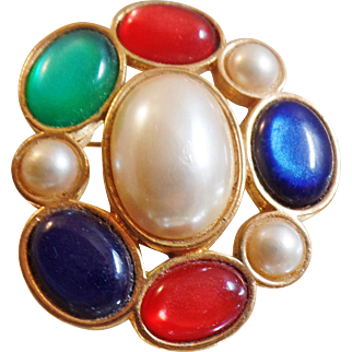 Vintage Colorful Cabochon Brooch. Red, Blue, Green, Pearl Pin. Avon.