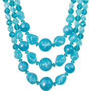 Vintage Aqua Blue Three Strand Lucite Necklace. Turquoise Marbled Lucite Bead Necklace.