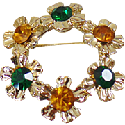 Vintage Gold Green Circle Flower Brooch. Green and Gold Rhinestone Flower Pin.
