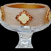 Vintage Hinged Lucite Rhinestone Bracelet. Cream and Gold Rhinestone Enamel Lucite Hinged Bracelet.
