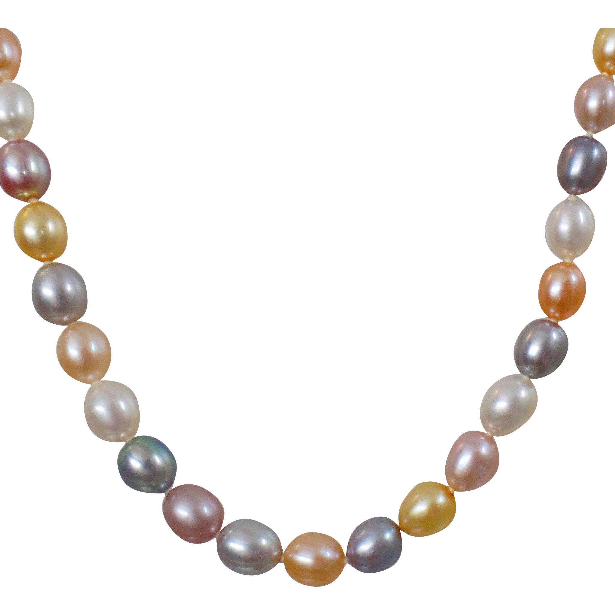 Vintage Multi Color Freshwater Pearl Necklace Sterling Silver Clasp Pink,  White, Yellow, Gray, Purple Genuine Pearls