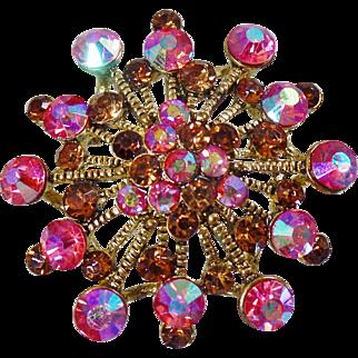 Vintage AB Pink and Brown Rhinestone Snowflake Brooch Pendant. Pink Aurora Borealis and Brown Rhinestone Cluster Pin.