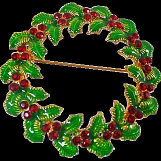 Vintage Holly Leaf Rhinestone Christmas Wreath Brooch. Red Rhinestone Holly Leaf Pin. Holiday.