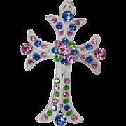 Vintage White Rhinestone Cross Pendant. White Enamel Pink Green Blue Rhinestone Cross Pendant.