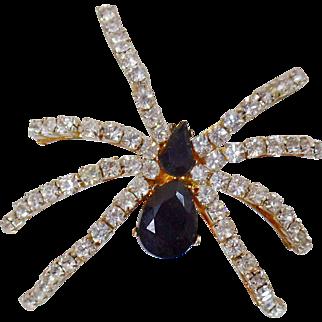 Vintage Huge Rhinestone Spider Brooch. Trembler Spider Brooch. Black and Clear Rhinestones Trembler Spider Pin.
