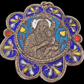 Vintage Mary Mother of God and Christ Child Pendant. Silver Cloisonne Enamel Madonna & Jesus Child Religious Pendant.