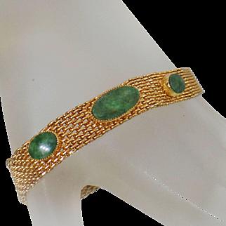 Vintage Green Jade Gold Mesh Bracelet. Gold Plated Mesh with Green Jade Bracelet.