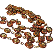 Vintage Art Glass Necklace. Copper Glass Beads. Copper and Yellow Citrine Glass Necklace.