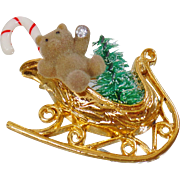 Vintage Teddy Bear Christmas Sleigh Brooch. Fuzzy Bear Candy Cane Christmas Tree Rhinestone Pin. Christmas Brooch. Holiday Pin.