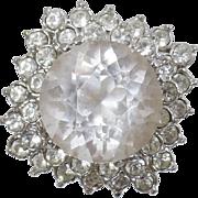 Vintage Huge CZ Faux Diamond Cocktail Ring. Yellow Gold 18K Hge Cz Vintage Ring