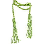 Super Long 63 inch Green Glass Bead Lariat Flapper Style Vintage Necklace