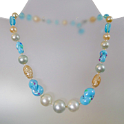 Vintage Blue Art Glass and Pearl Necklace. Japan. Vintage Japanese Glass Necklace.