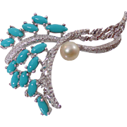 Vintage Turquoise Brooch. Faux Pearl and Turquoise Rhinestone Silver Pin. French Rhodium Plated Brooch.