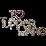 Vintage I Heart Tupperware Rhinestone Brooch. Unsigned Dorothy Bauer Pin.
