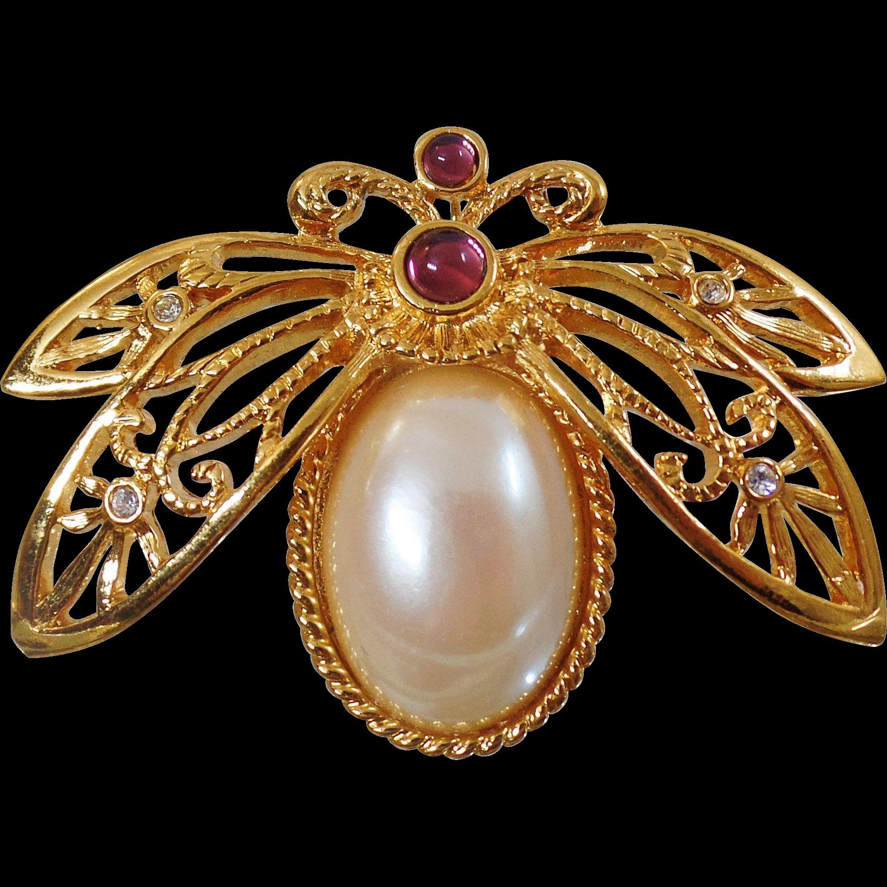 Vintage Large Rhinestone Pearl Bee Brooch. Avon. Faux