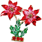 Vintage Handpainted Rhinestone Poinsettia Brooch. BJ Beatrix. Vintage Christmas Poinsettia Flowers Pin.