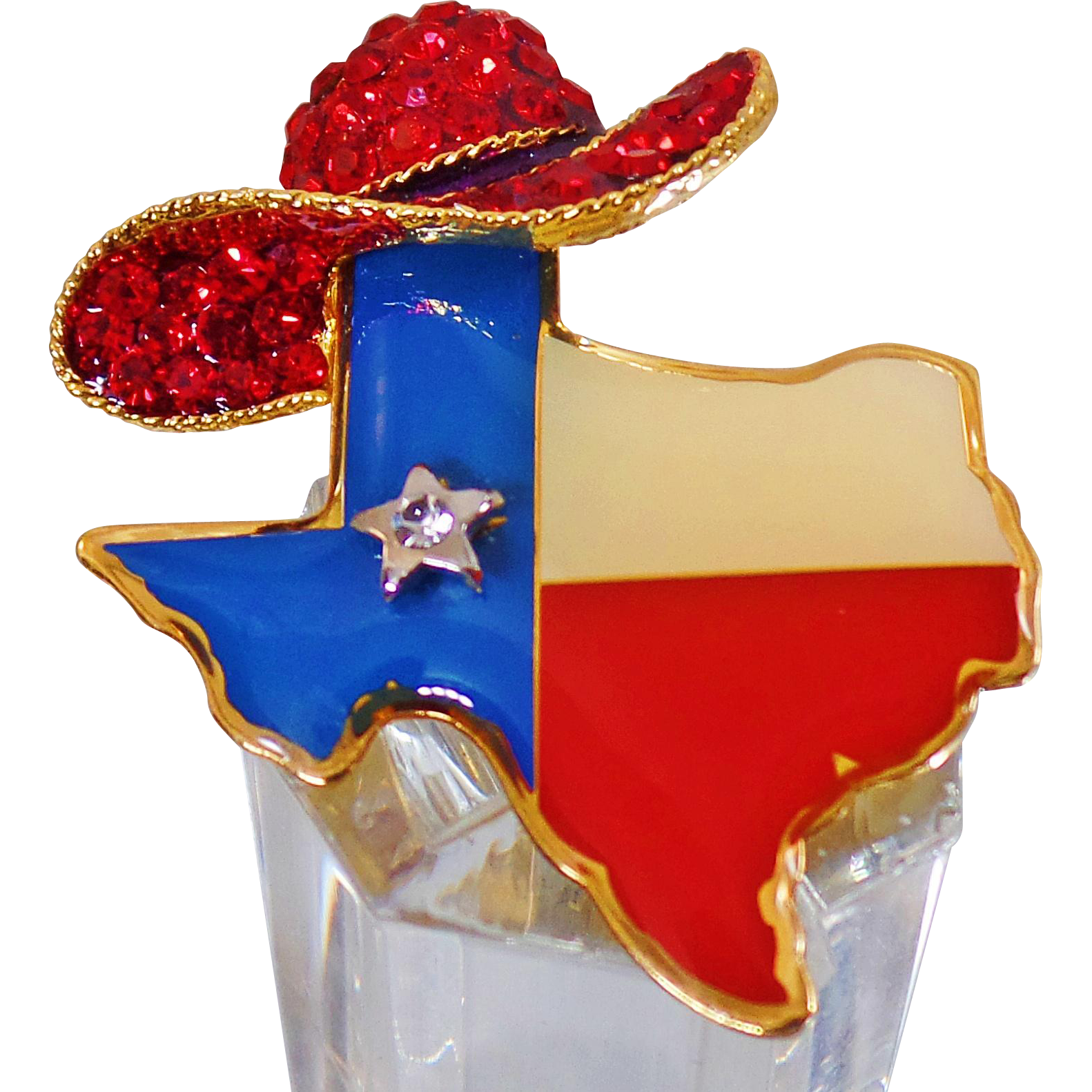 Vintage texas red hat rhinestone brooch red white blue for Red hat bling jewelry