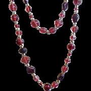 Vintage Purple Glass Flapper Necklace. Art Deco. Purple Art Glass Beads. 1930s. 49 inches