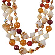 Vintage DEAUVILLE Necklace. Rhinestones. Austrian Crystals. Rustic Pyramid Faux Agate Beads. Amber Beads. Bubble Bead Necklace.