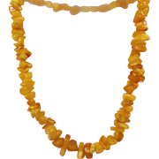 Vintage Natural Egg Yolk Amber Necklace. Yellow Butterscotch Polished Amber Necklace.
