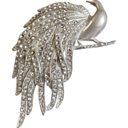 Vintage Peacock Brooch. Large Pot Metal Bird of Paradise Pin. Clear Rhinestone Peacock Brooch.