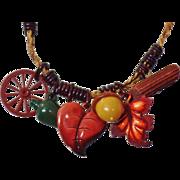 Vintage 1920s Celluloid and Jute Autumn Figural Necklace. Bracelet. Leaves, Jug, Acorn, Wagon Wheel, Log Necklace.