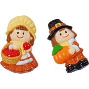 Vintage Pair of Pilgrims Brooches. Pilgrim Boy and Pilgrim Girl with Pumpkin and Apples Pin. Russ. Thanksgiving Brooch.