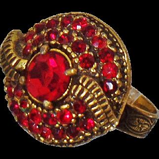 Vintage Garnet Red Rhinestone Ring. Antiqued Gold Tone Red Garnet Rhinestone Ring. Adjustable.