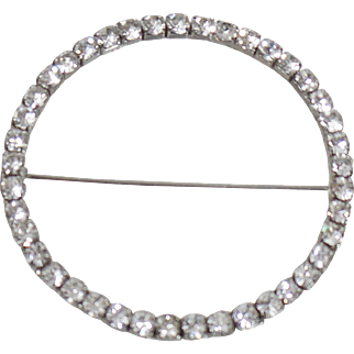 Vintage Huge Rhinestone Circle Brooch. Rhodium Plated Silver Rhinestone Circle Pin.