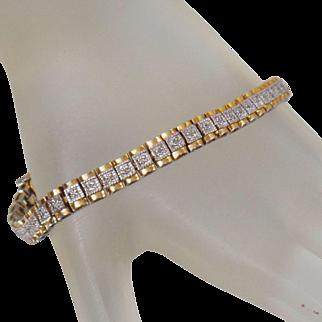 Vintage 14k Gold over Sterling Silver Diamond Bracelet. Gold Silver Link Diamond Bracelet.