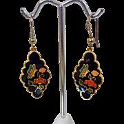 Vintage Black Cloisonne Earrings. Red Flowers Turquoise Butterfly Dangling Cloisonne Enamel Earrings.