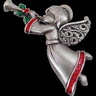 Vintage Angel Brooch. Pewter. Holly Trumpet Angel Pin. Christmas Cherub Angel Pin. JJ. Holiday Pin.