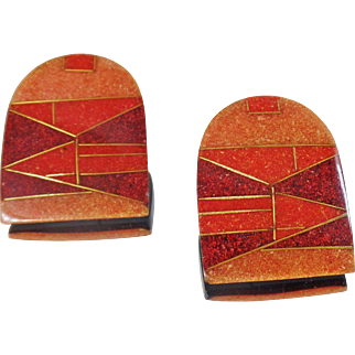 Vintage Tribal Crushed Stone Earrings. Mosaic Orange Red Maroon Crushed Stone in Lucite Geometric Earrings.