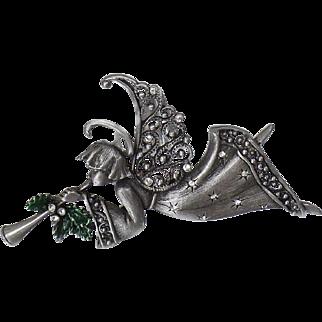 Vintage Pewter Angel Brooch. JJ. Rhinestone Trumpet Angel Pin. Christmas Cherub Angel Pin. JJ. Holiday Pin.