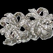 Vintage KJL Clear Rhinestone Earrings. Kenneth J. Lane for Avon. Large Silver Ribbon Bow Clear Rhinestone Earrings.