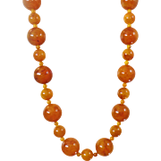 Vintage Natural Egg Yolk Honey Baltic Amber Necklace. Honey Yellow Butterscotch Polished Amber Bead Necklace.