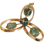 Vintage Green Jade Pendant. Atomic Age Gold Plated Wire Green Jade Pendant.