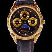 Vintage Black Innovative Time Men's Watch. Gold Military Time Black Men's Watch.