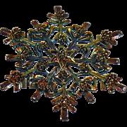 Vintage Anodized Metal Snowflake Brooch. Blue Gold Green Anodized Metal Snowflake Pin.