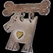 Vintage Dog with Bone Sterling Silver Brooch. MWB Mexico 925 Swinging Puppy Dog Bone Pin.