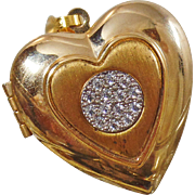 Vintage Gold and Spinel Heart Locket Pendant. Gold Plated Faux Diamond Cluster Locket.