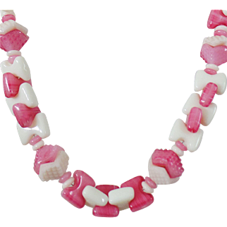 Vintage Milk Glass and Pink Art Glass Necklace. Geometric Textured Rose Pink Art Glass and Milk Glass Necklace.
