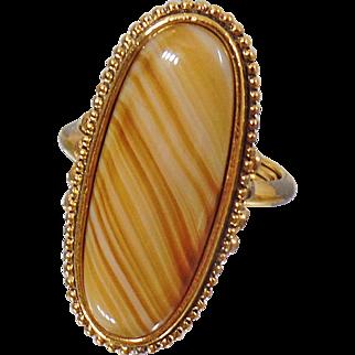 Vintage Banded Agate Ring. Shimmering Sands Avon Agate Ring.