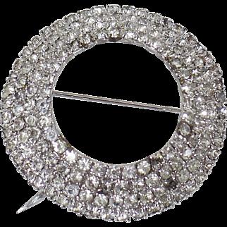Vintage Large Rhinestone Four Circle Brooch. Rhodium Plated Silver Rhinestone Circle Pin.