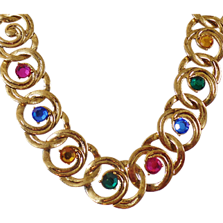 Vintage Colorful Rhinestone Choker Necklace. 1970s. Bold Gold Rhinestone Choker Necklace.