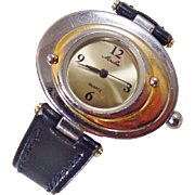 Vintage Moulin Mod Ladies Watch. Gold and Silver Tone. Atomic Age. Water Resistant. Black Leather Band.
