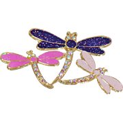 Vintage Pink Purple Rhinestone Three Dragonfly Brooch. Enamel and Rhinestone Encrusted 3 Dragonfly Pin.