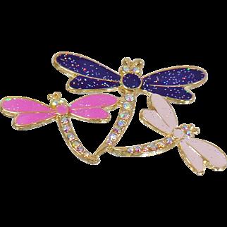 Vintage Pink Purple Rhinestone Three Dragonfly Brooch. Enamel and Rhinestone Encrusted 3 Dragonfly Pin.